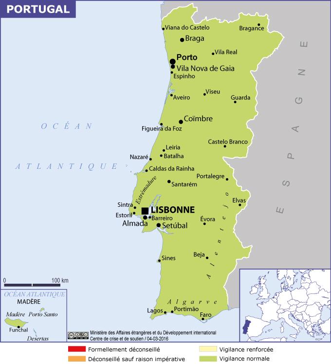 carte du portugal en francais - Photo