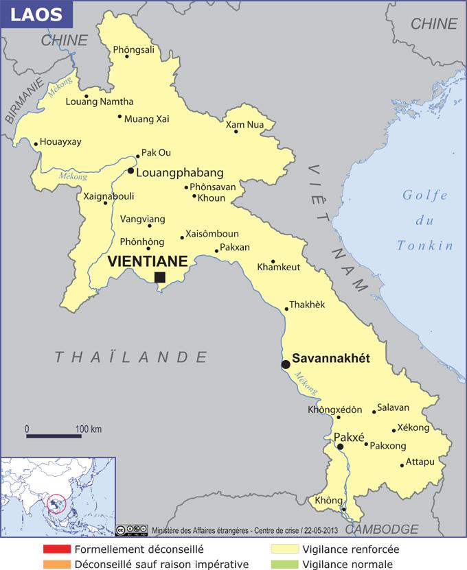 Carte Du Monde Laos.Laos Carte Villes