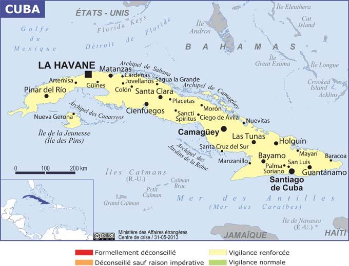 Carte de Cuba en espagnol » Vacances   Arts  Guides Voyages