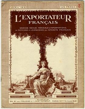 228QO/76 : Page de titre de la revue L'exportateur français, avril 1916 [développement du commerce français pour l'après-guerre]