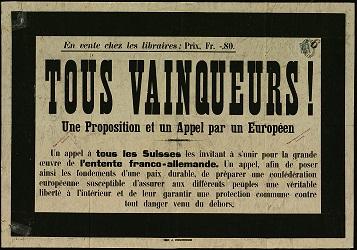 affiche grand format : « tous vainqueurs », 26 décembre 1916 [affichée en Suisse suite au discours du chancelier Betmann Hollweg]