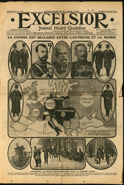Une de Excelsior, 29 juillet 1917 : Déclarations de guerre. Carte de l'Europe et portraits des dirigeants européens.
