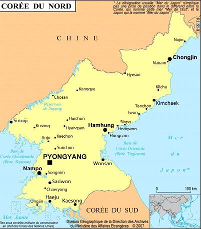carte de la coree du nord