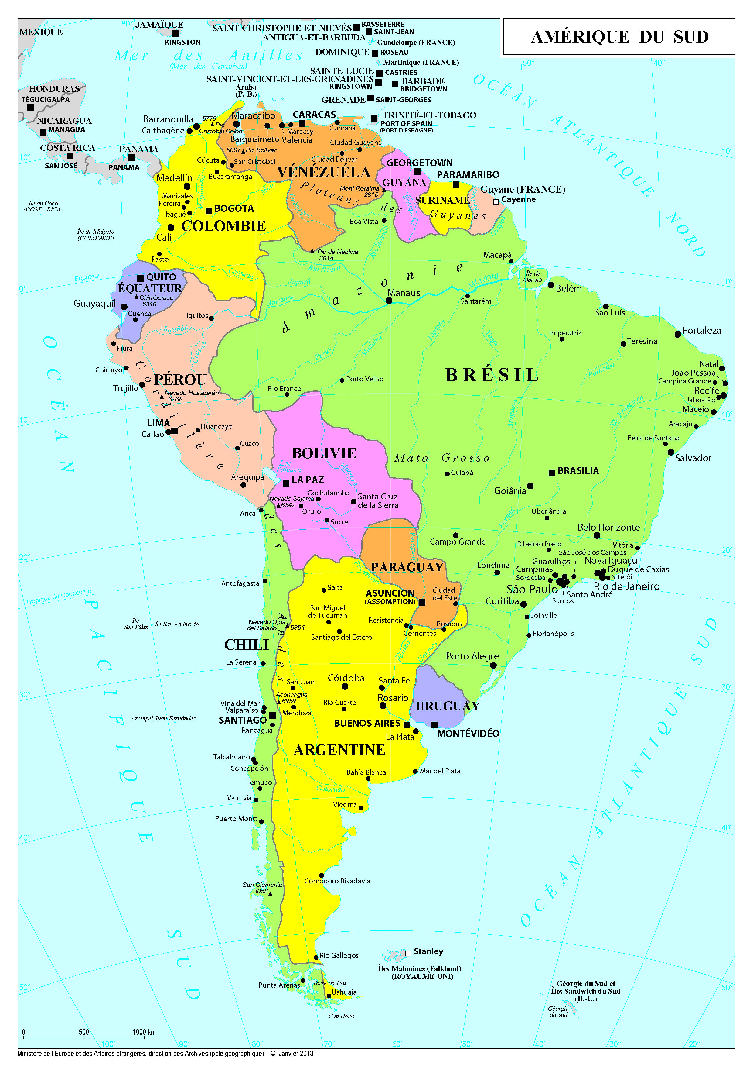 Carte Amerique Du Sud Et Amerique Centrale.Amerique France Diplomatie Ministere De L Europe Et Des Affaires