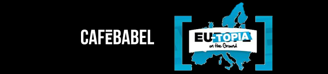 """Logos de Café Babel et """"EU-topia on the ground"""""""