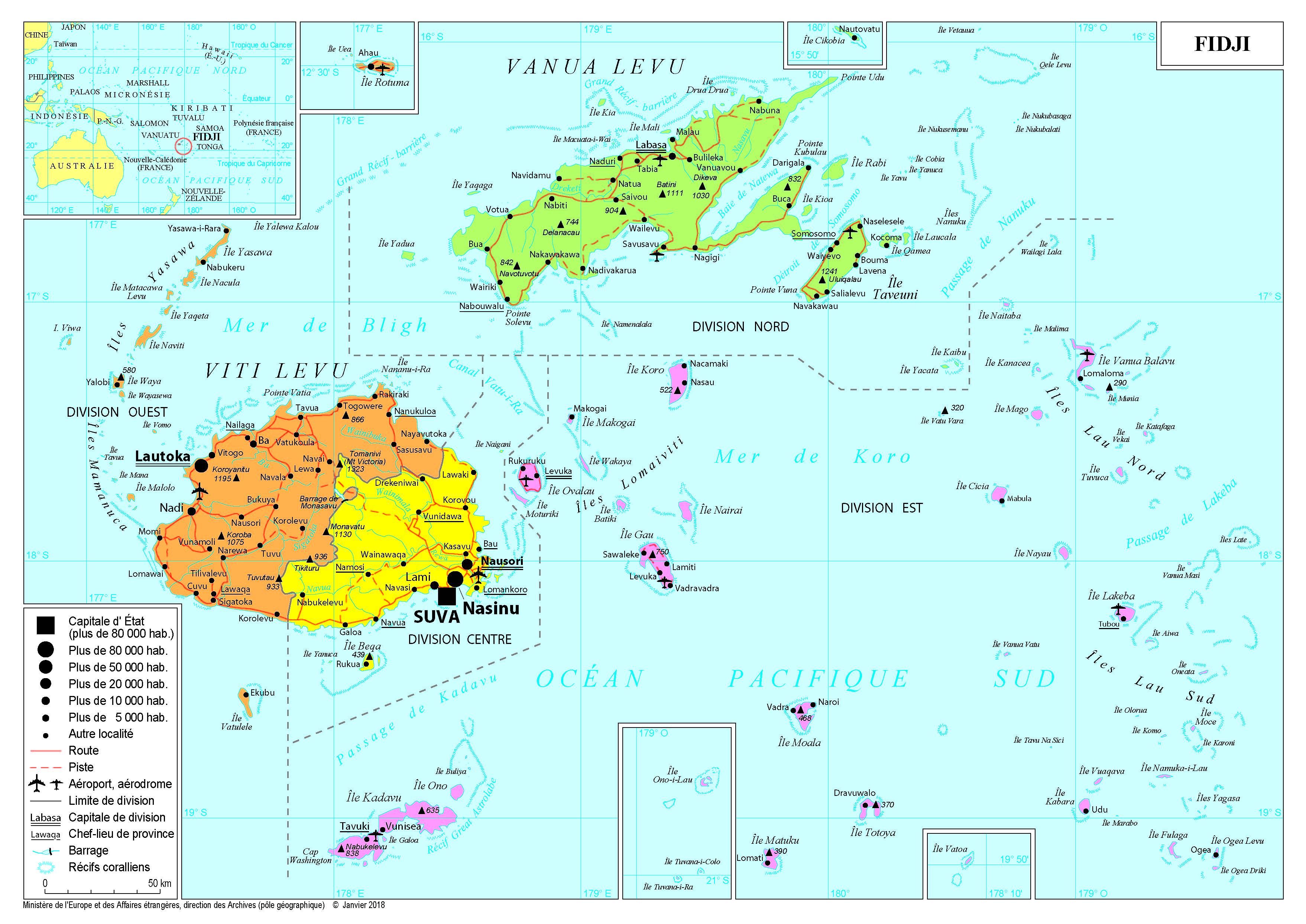 Carte Australie Et Iles Fidji.Presentation Des Fidji