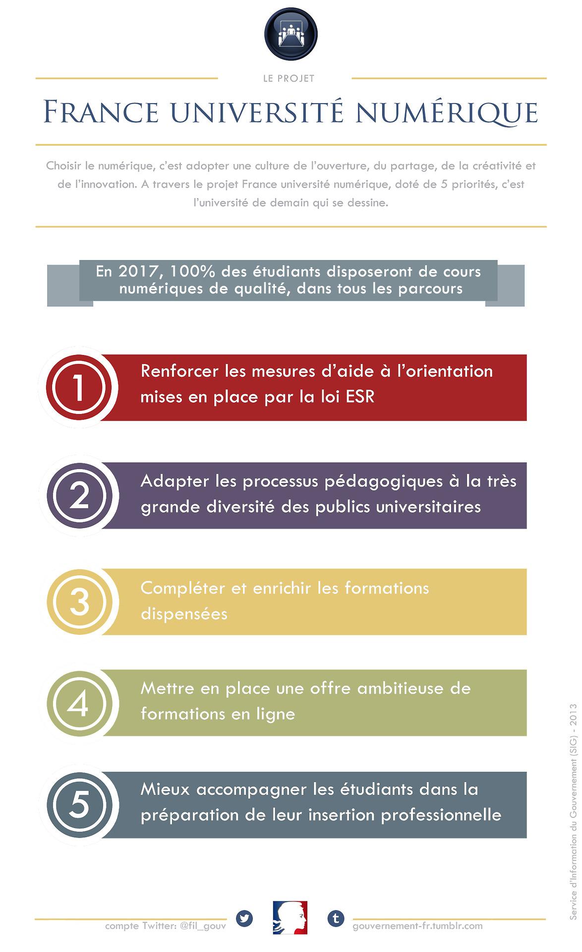 Infographie sur les 5 axes de France Université Numérique, sur le Tumblr du Gouvernement