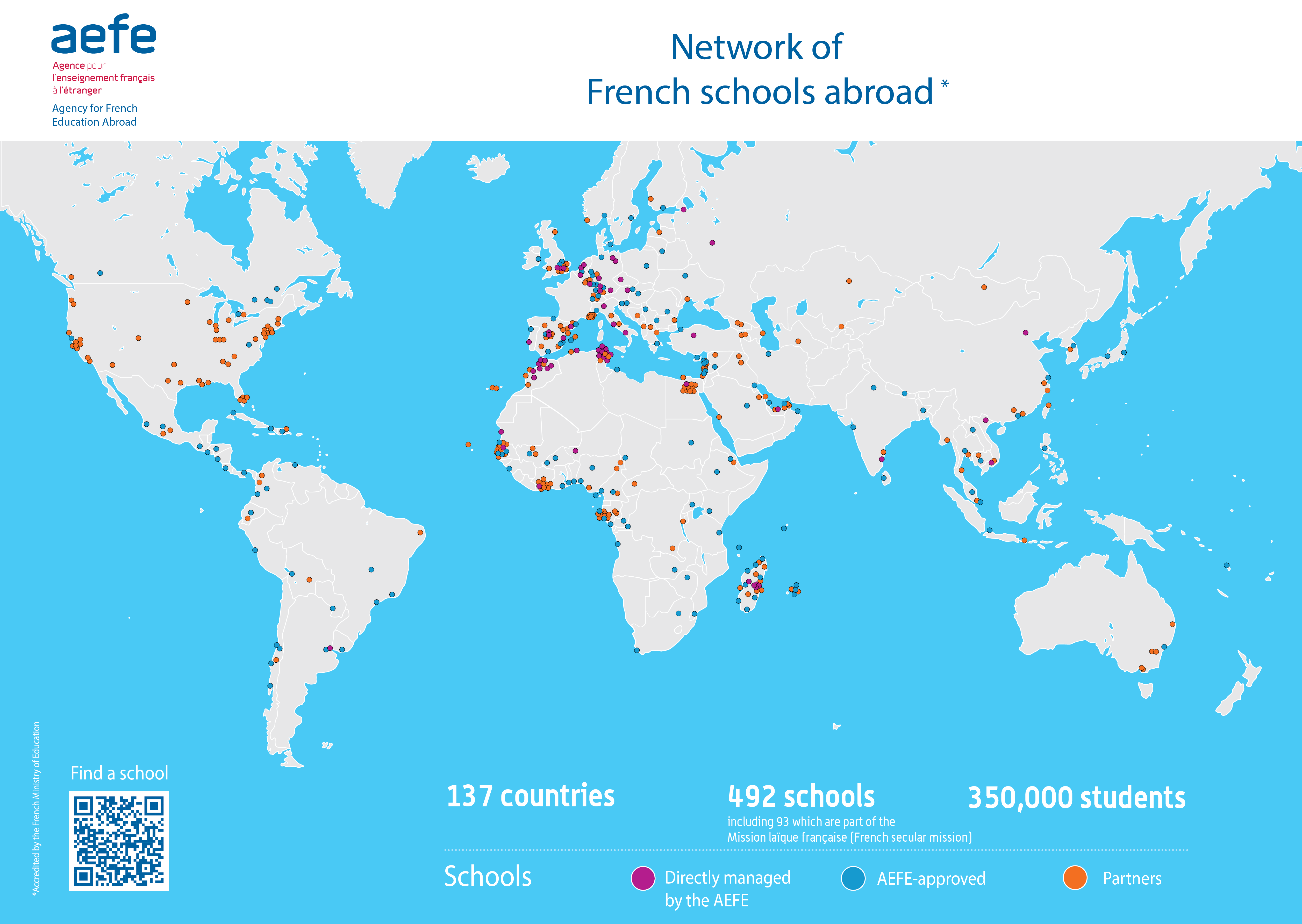 The french school system abroad aefe map of aefes network gumiabroncs Gallery