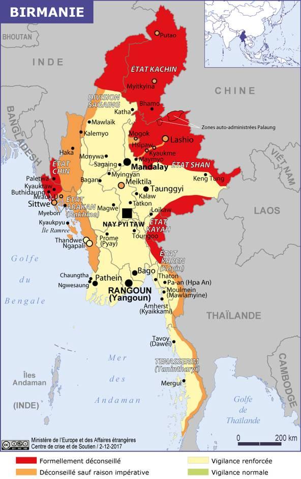 Carte Routiere De La Birmanie.Birmanie