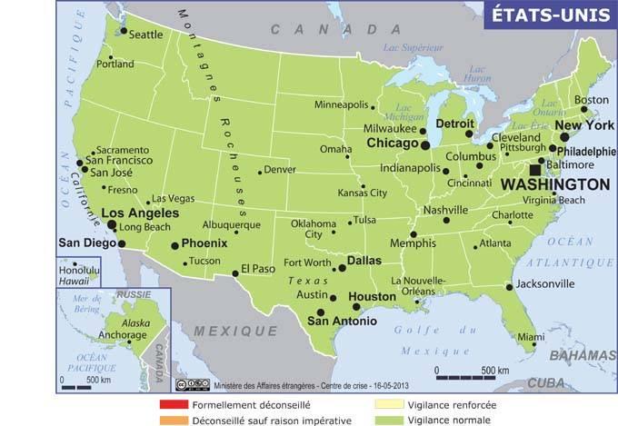 Carte Usa Canada Cote Est.Conseils Aux Voyageurs Etats Unis