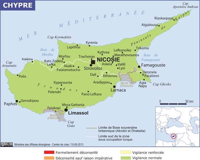 Chypre Carte Touristique.Chypre