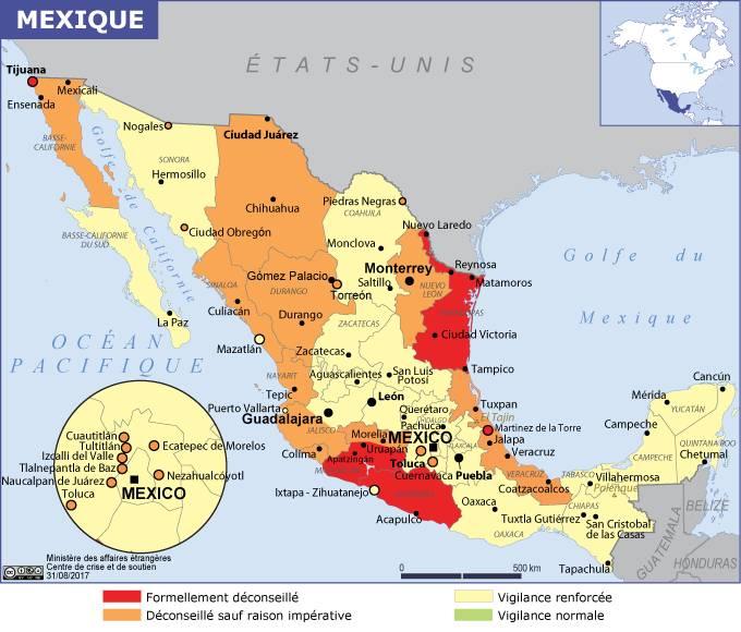 Carte Mexique Touristique.Mexique