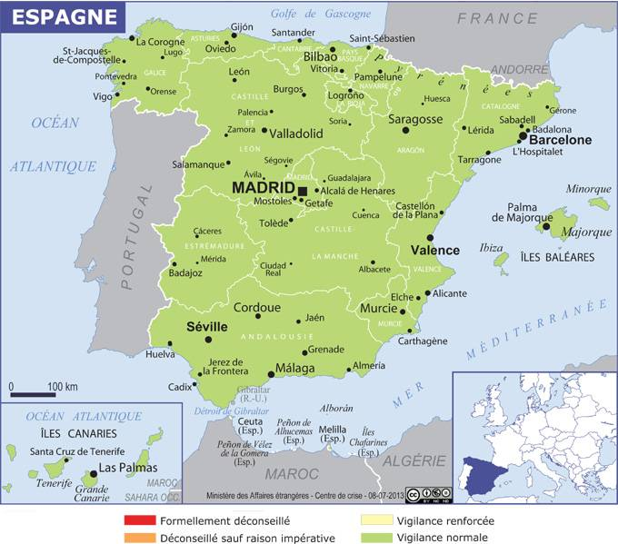 Carte Cote Atlantique France Espagne.Espagne