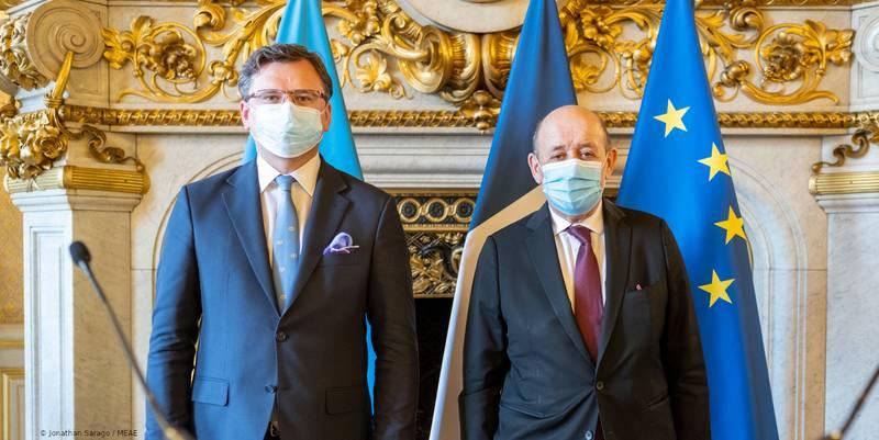 Ukraine – Entretien de Jean-Yves Le Drian avec son homologue ukrainien Dmytro Kuleba – Déclaration du Ministre (Paris, 26.02.21)