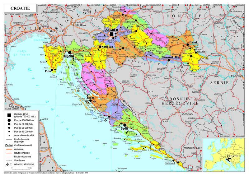 Carte De La Croatie Touristique.Presentation De La Croatie