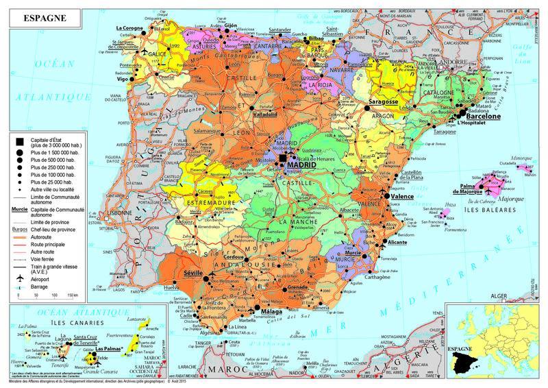 Carte De Lespagne Barcelone.Presentation De L Espagne